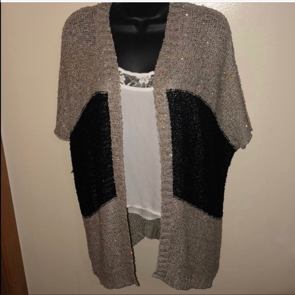 Daytrip Sweaters - 🆕 Gray   Black Cardigan with Gold Sequins 65ea9a7ec